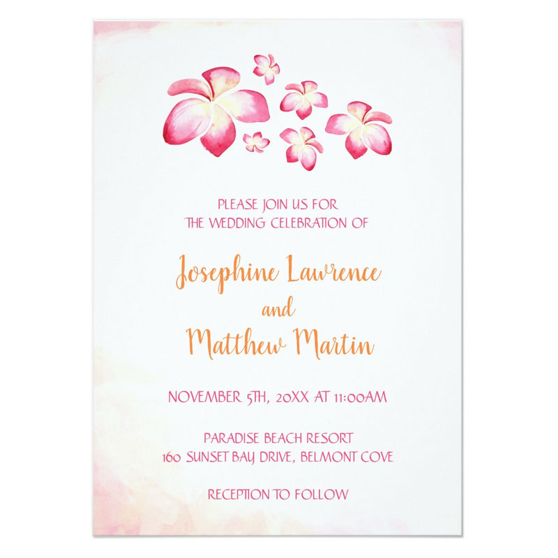 Watercolor beach theme wedding invites featuring pink plumeria frangipani flowers on a sunset theme watercolor background.