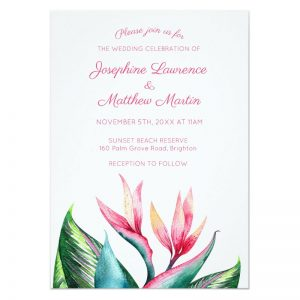 Bird paradise wedding invitaitons with tropical flowers and leaves.