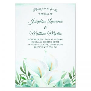 Watercolor style calla lily wedding invites featuring white calla lily flowers.