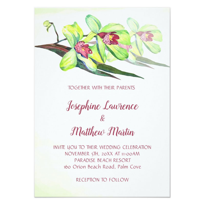 Green orchid wedding invitations featuring green orchid flower with burgundy centers.