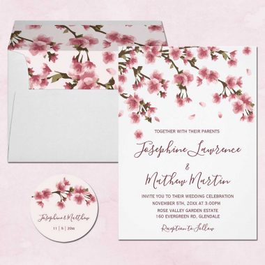 Japanese Cherry Blossom Wedding Invitations With Pink Blossoms
