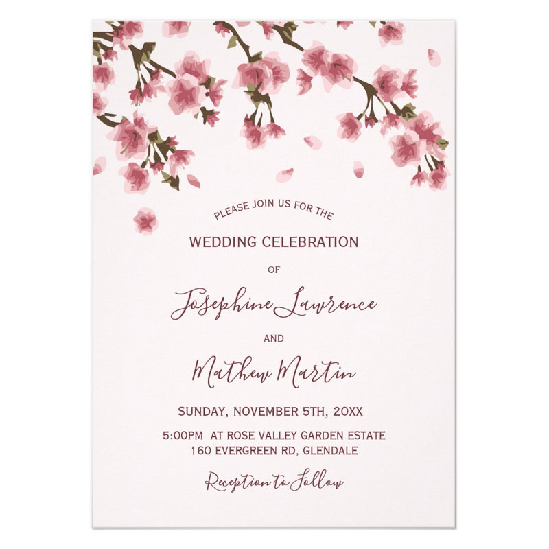 Japanese cherry blossom wedding invitations with branches and pink blossom flowers.