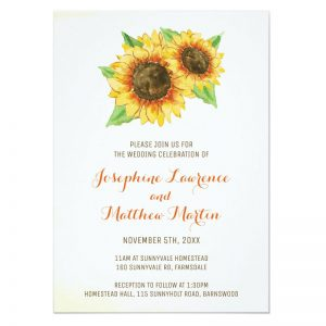 Watercolor sunflower invitations for weddings.