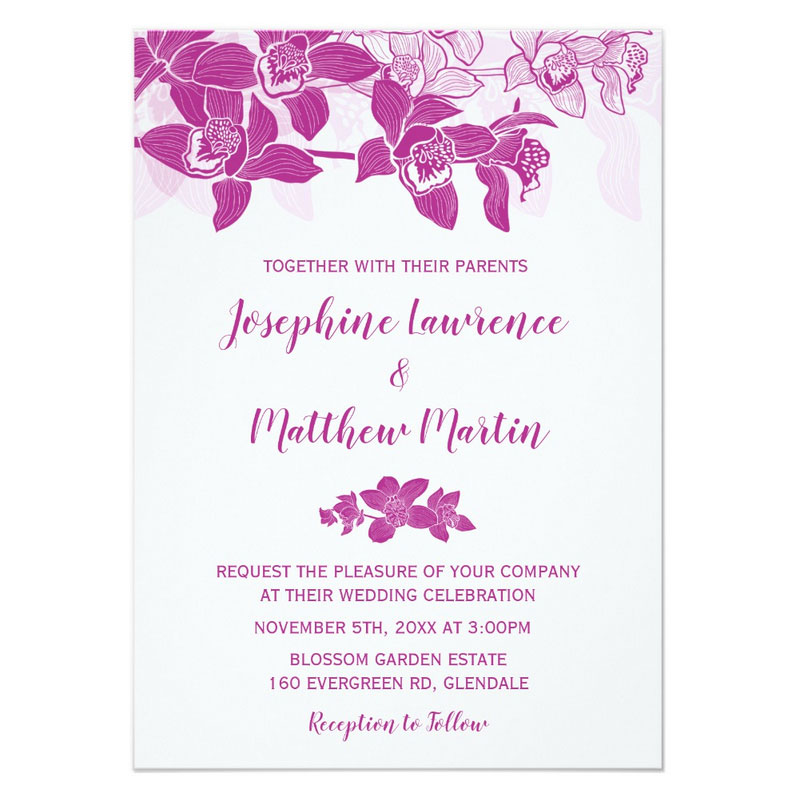 Elegant wedding invitation with orchids. Pink magenta color theme.