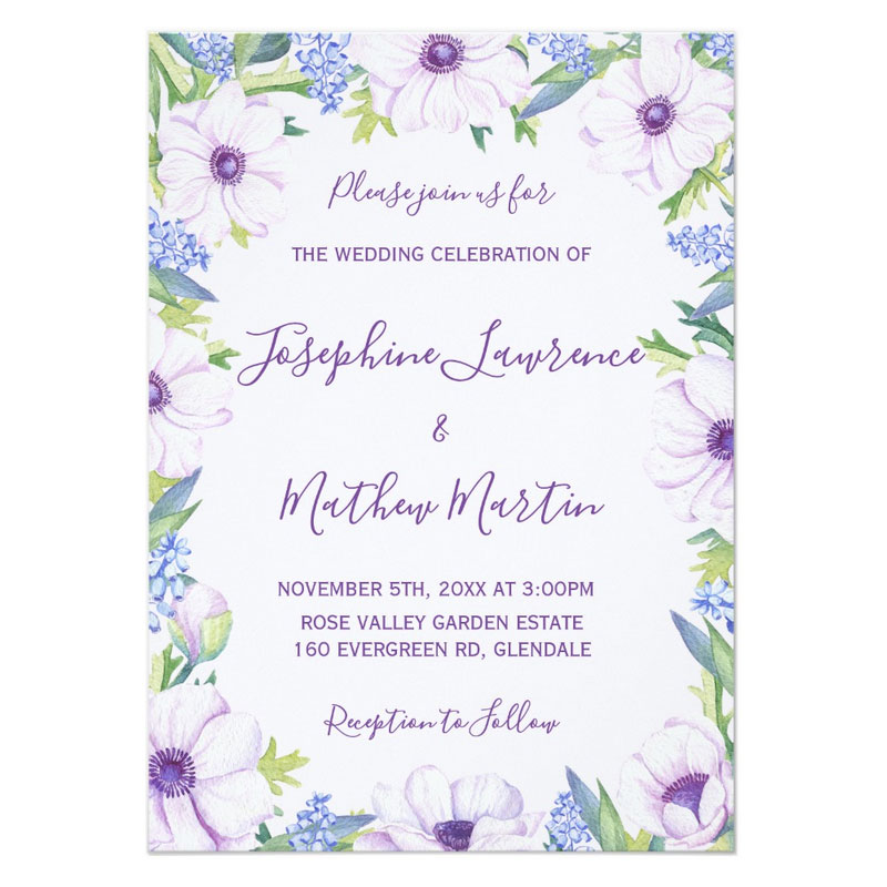 Anemone wedding invitations with purple anemone flowers and spring hyacinths.