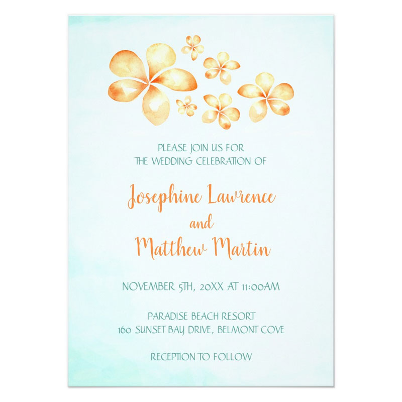 Beach style wedding invitations featuring yellow plumeria flowers on a watercolor background.