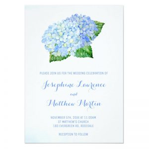 Blue hydrangea wedding invitation featuring blue watercolor hydrangea flowers and leaves.