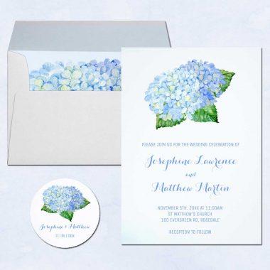 Blue Hydrangea Wedding Invitations With Blue Flowers Leaves