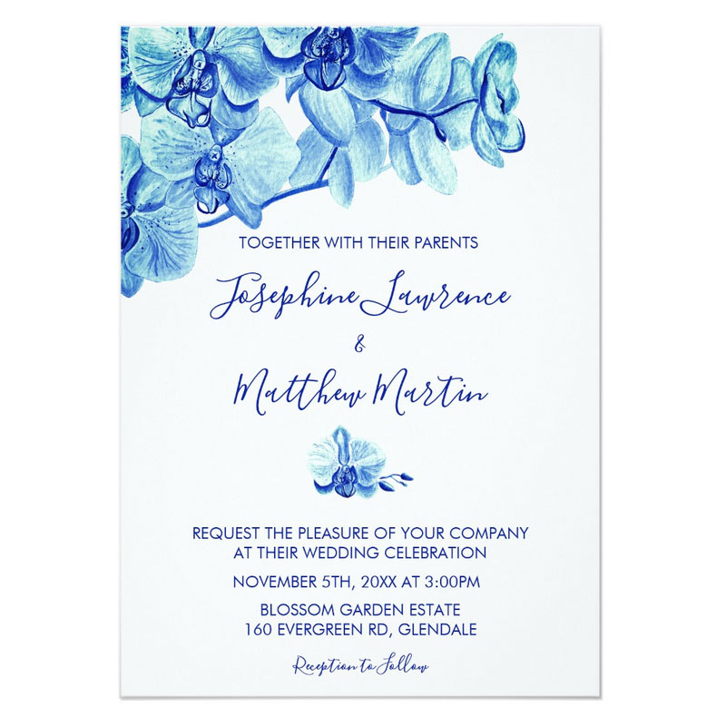 Blue orchid wedding invitations with radiant blue watercolor orchid design.