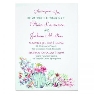 Cactus wedding invitations with cactus flowers, succulents and leaves,