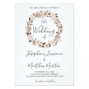 Cream rose wedding invitations with cream rose wreath design.