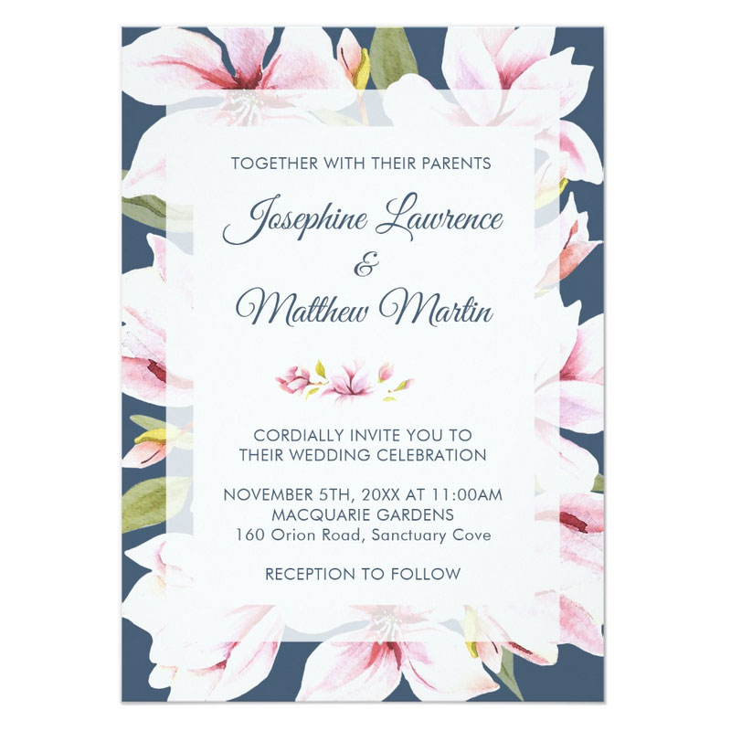 Elegant floral wedding invitations featuring spring magnolia flowers on a deep blue background.