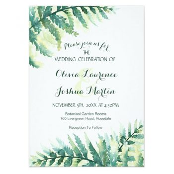 Fern wedding invitations with watercolor green fern leaves.