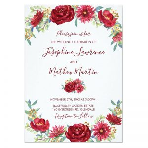 Floral watercolor wedding invitations featuring red and burgundy flowers.