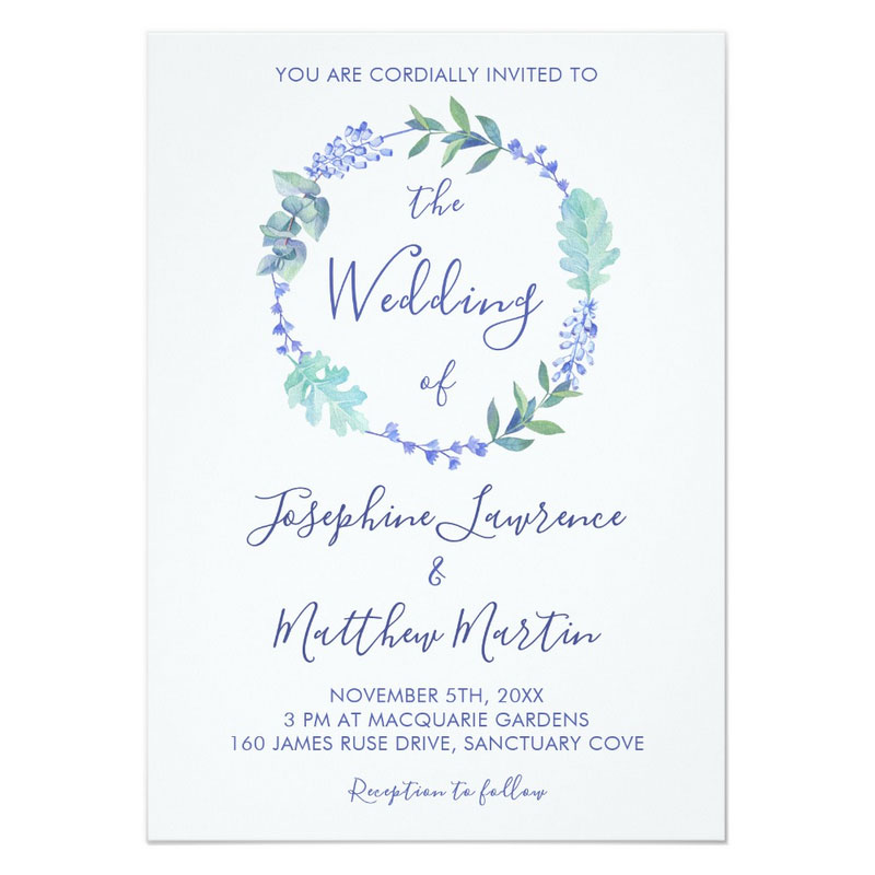Flower wreath wedding invitations with purple flowers and foliage..