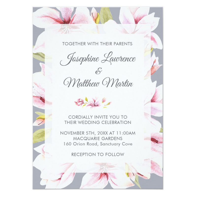 Magnolia invitations with watercolor magnolia flowers on a gray background.