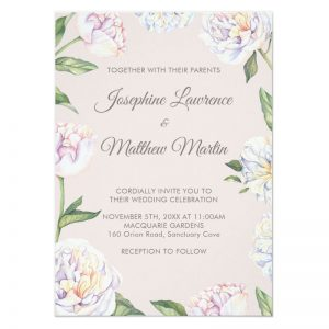 Mauve wedding invitations with white peony flowers on a mauve background.