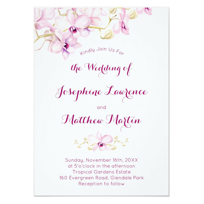 Orchid wedding invitation with watercolor tropical purple orchids.