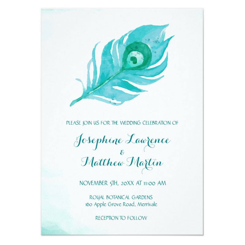 Peacock themed invitations featuring a watercolor peacock feather design.