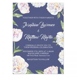 Peonies wedding invitation with white watercolor peony flowers on a blue background.