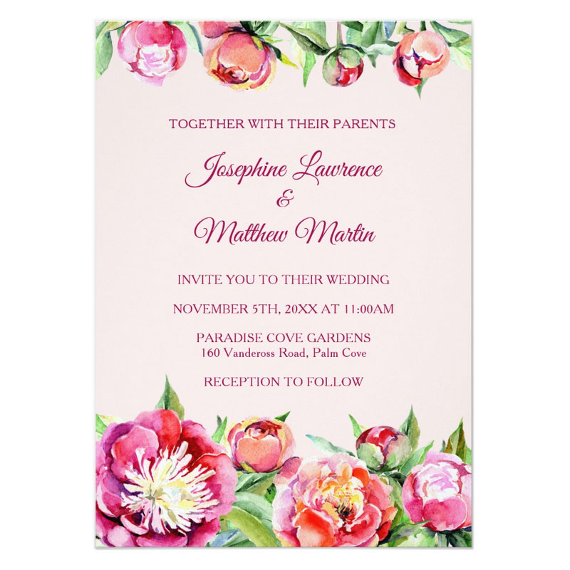 Peonies wedding invitations with red, coral and pink peony flowers.