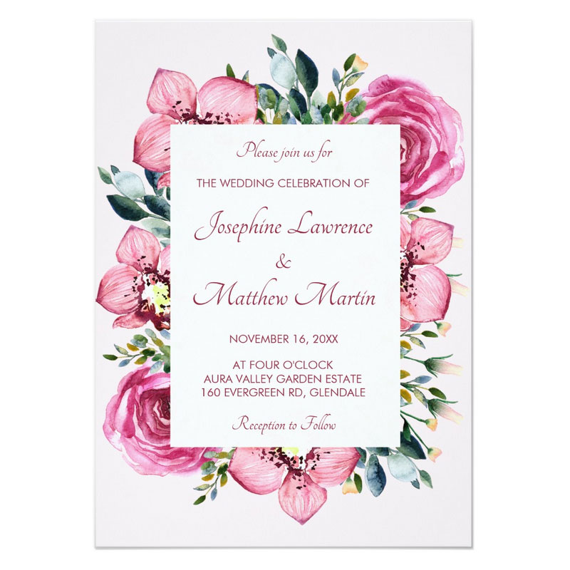 Pink orchid wedding invitations with pink orchid flowers and pink roses with green foliage in a watercolor style.