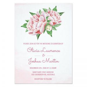 Pink peony wedding invitations with pretty pink peony flowers in a watercolor style design.