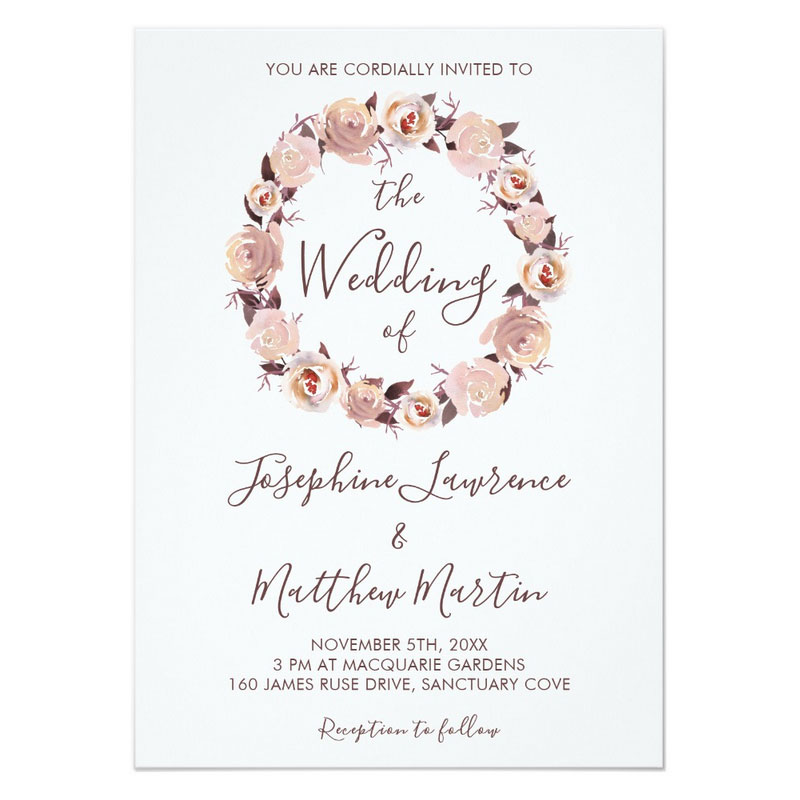 Pink rose invitations with blush pink floral rose wreath, matching envelope and sticker.