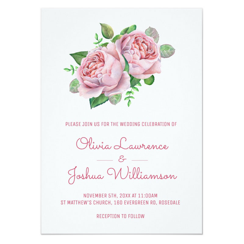 Pink roses invitations with pretty pink roses and leaves.