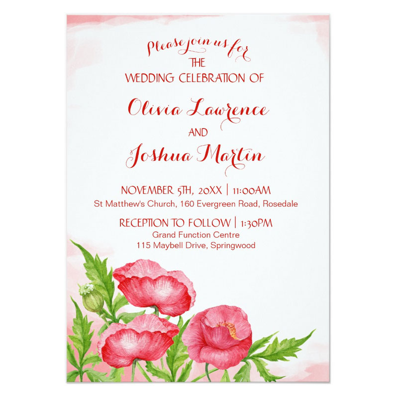 Poppy wedding invitations with red watercolor poppy flowers.
