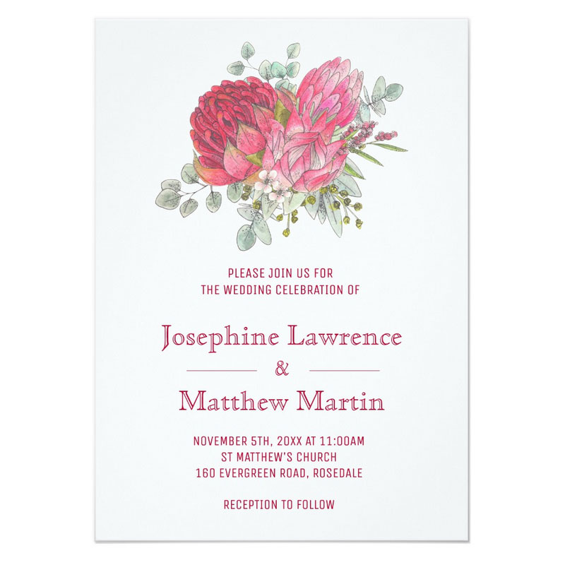 Protea wedding invitations featuring protea and waratah flowers.