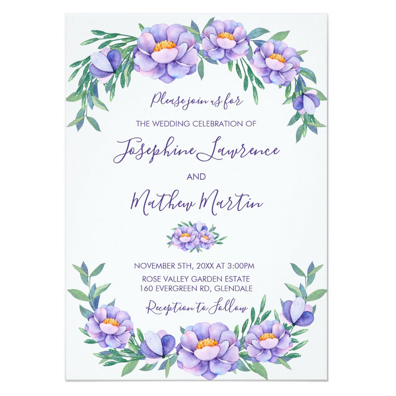 Purple floral wedding invitations featuring a purple floral and foliage watercolor design.