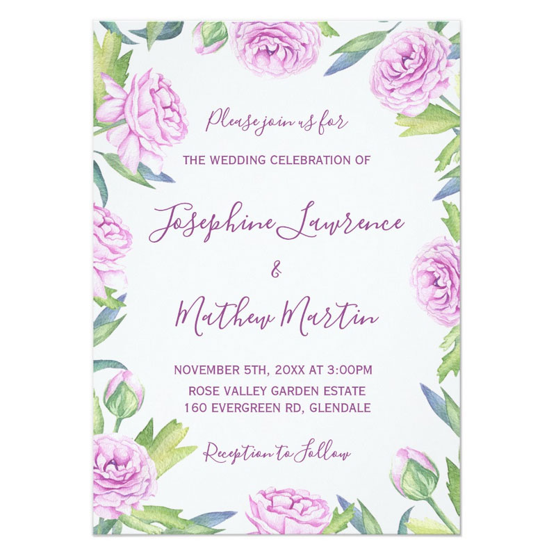 Purple flower wedding invitations with purple ranunculus flowers.