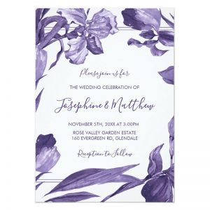 Purple iris wedding invitations with watercolor style purple iris flowers bordering the invitations text.