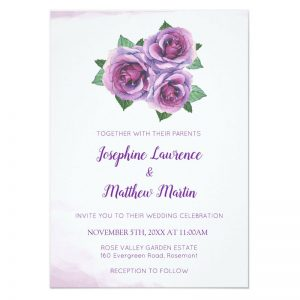 Purple rose bouquet with watercolor purple rose blooms.
