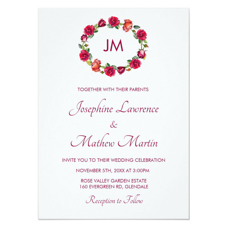Red roses wedding invitations with rose wreath and monogram.