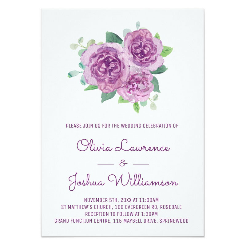 Rose wedding invitation with pretty light purple roses.