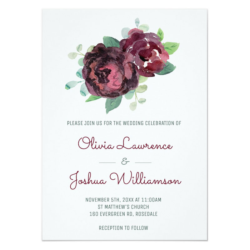 Burgundy roses wedding invitations with watercolor rose blooms.