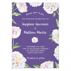 Spring wedding invites with watercolor white peony flowers on a purple background.