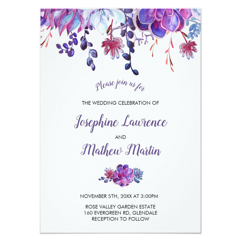 Succulent wedding invitations featuring purple succulent flowers and leaves in a watercolor design.