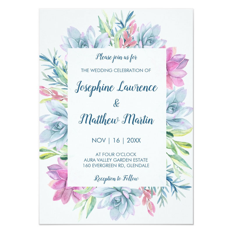 Succulent wedding invites with watercolor succulent design in hues of pink, blue and green.