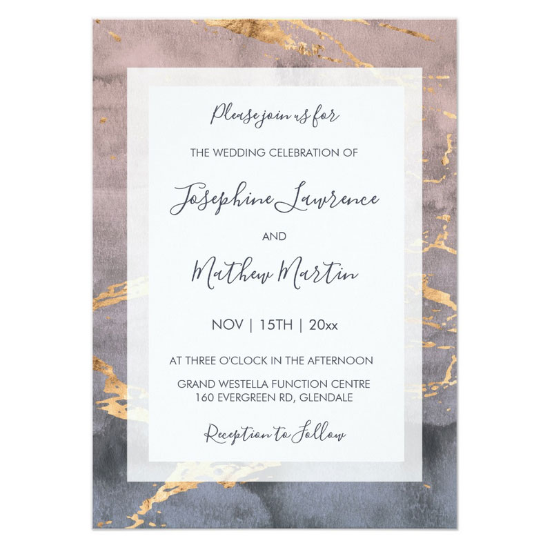 Watercolor invitations for wedding featuring blush and gray watercolor with faux gold.