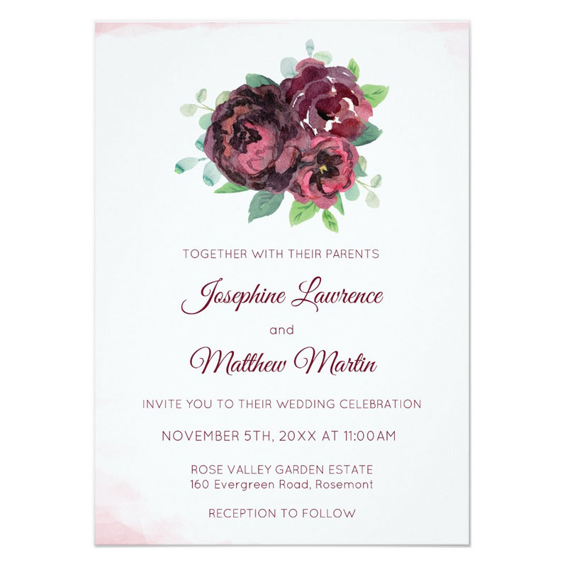 Wedding invitations with rose theme featuring a burgundy rose bouquet.