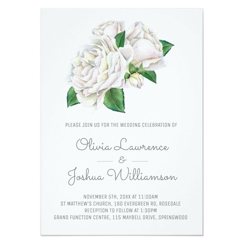 White rose wedding invitations featuring an elegant white rose bouquet.
