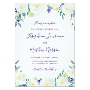 White roses wedding invitations featuring a top and bottom floral border of white roses and violets.