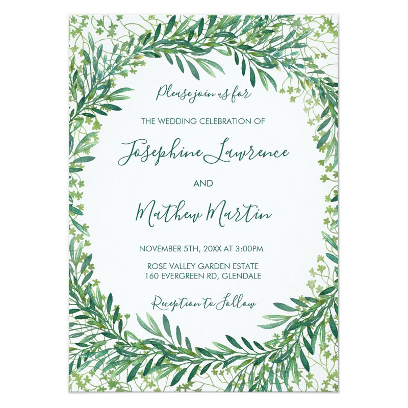 Watercolor wedding invitations. Greenery and foliage wreath with monogram.