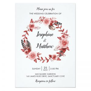 Bohemian wedding invites with feather and burgundy rose wreath. With matching rsvp card, ceremony program, stickers and labels.