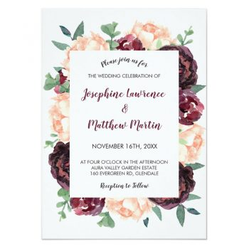 Burgundy floral wedding invitations with watercolor burgundy roses and peach peony flowers.