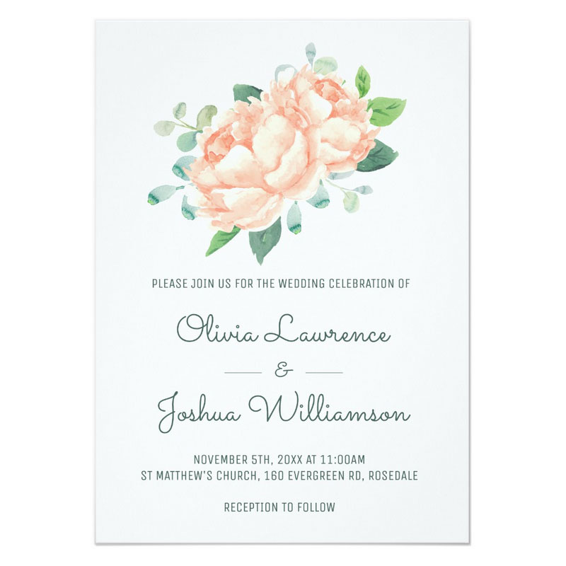 Peony wedding invitation featuring peach peony flowers watercolor design with matching wedding stationery.