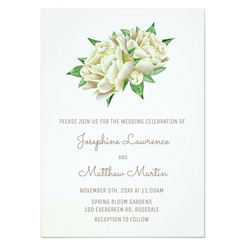 Peony wedding invites with cream peony flowers in a watercolor style.